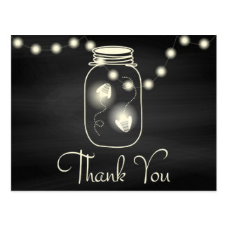 Chalkboard Mason Jar with Fireflies Wedding Thanks Postcard