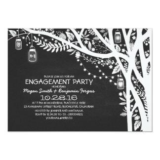 Chalkboard mason jars tree lights engagement party 13 cm x 18 cm invitation card