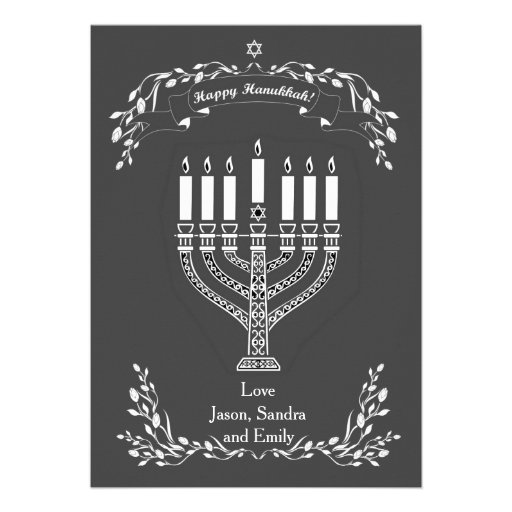 Chalkboard Menorah Hanukkah Greetings Custom Announcements