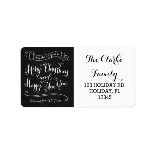 Chalkboard Merry Christmas and Happy New Year Label