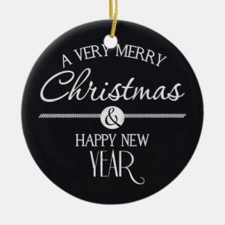 Chalkboard Merry Christmas and Happy New Year Christmas Ornament