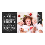 Chalkboard Merry Christmas, Happy New Year Card Customized Photo Card