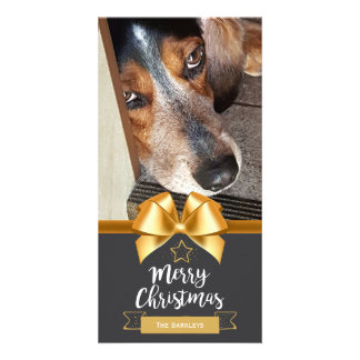 Chalkboard Merry Christmas Pet Photo Gold Bow Card