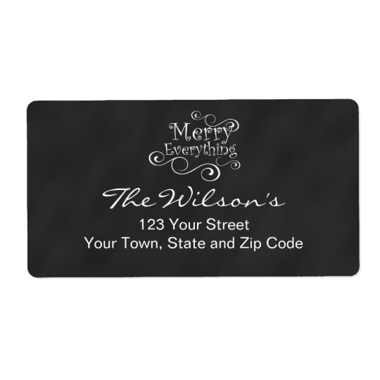 Chalkboard Merry Everything Shipping Label