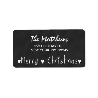CHALKBOARD MERRY HOLIDAY GREETING LABEL