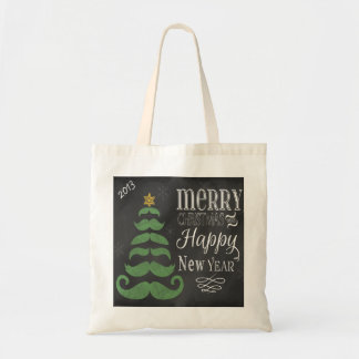 Chalkboard Merry Mustache Christmas Tote Canvas Bags