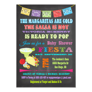 Chalkboard Mexican Fiesta Baby Shower invitations