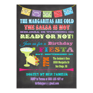 Chalkboard Mexican Fiesta Birthday Party 13 Cm X 18 Cm Invitation Card