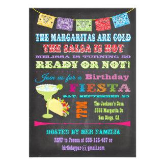 Chalkboard Mexican Fiesta Birthday Party Personalized Invitation