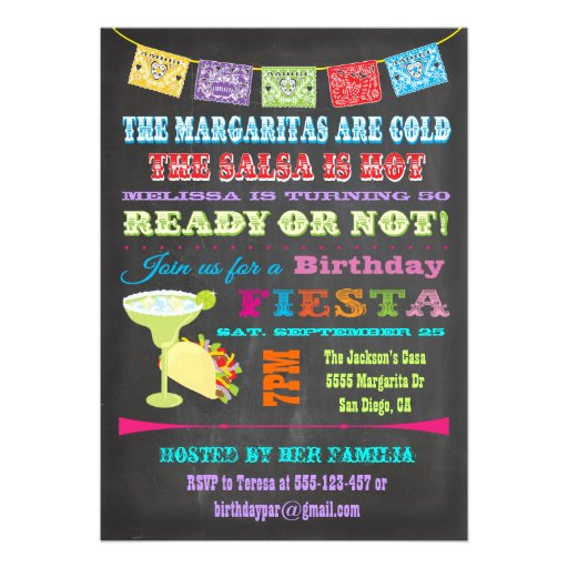 Chalkboard Mexican Fiesta Birthday Party Personalized Invitation