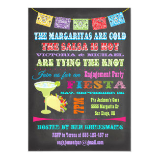 Chalkboard Mexican Fiesta Engagement Party 13 Cm X 18 Cm Invitation Card