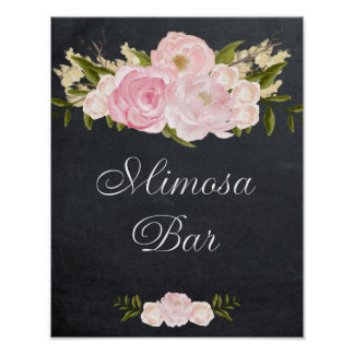 chalkboard mimosa bar sign pink roses