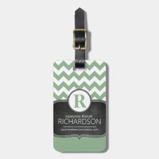 Chalkboard Mint Green Chevron Monogram Luggage Tag