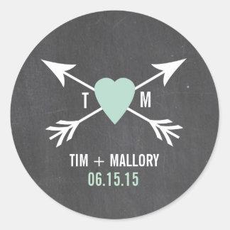 Chalkboard Mint Heart + Arrow | Wedding Stickers