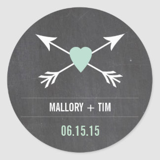 Chalkboard  Mint Heart + Arrow | Wedding Stickers