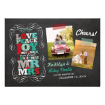 Chalkboard Mistletoe Vintage First Christmas Photo Custom Announcement