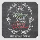 Chalkboard Mistletoes Christmas Holiday Gift Tag Square Stickers