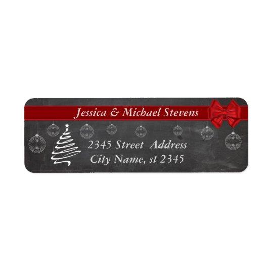 Chalkboard  modern trendy holiday Christmas Return Address Label