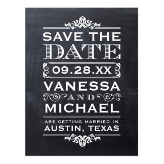 Chalkboard Modern Vintage Save the Date Postcard