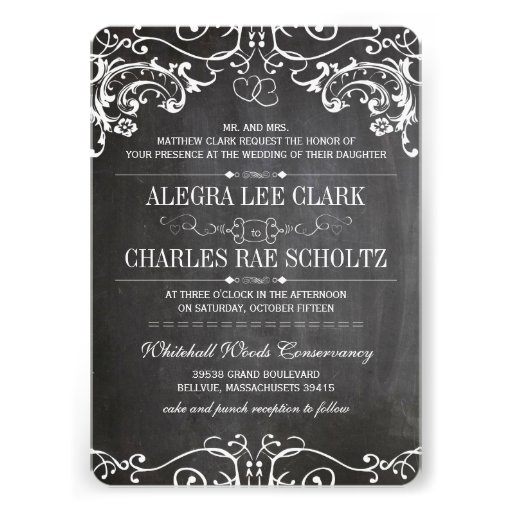 Chalkboard Modern Vintage Typography Invite - Zazzle.
