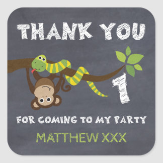 Chalkboard Monkey 1st Birthday Favor Sticker
