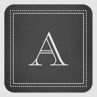Chalkboard Monogram Envelope Seal Square Sticker