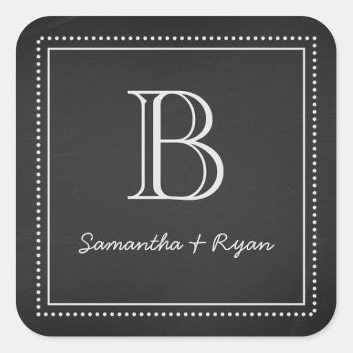 Chalkboard Monogram Envelope Seal Square Stickers