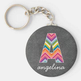 Chalkboard Monogram Letter A with Bright Chevrons Key Ring