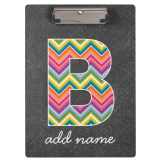 Chalkboard Monogram Letter B with Bright Chevrons Clipboards