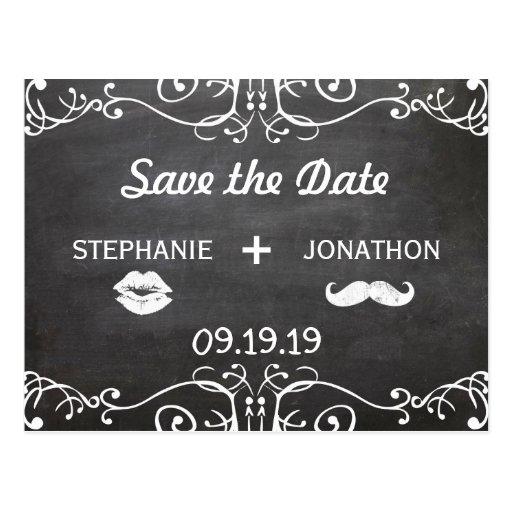 Chalkboard Moustache Lips Vintage Save the Date Postcard - Zazzle.