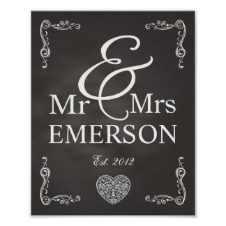 Chalkboard - Mr & Mrs custom name Poster