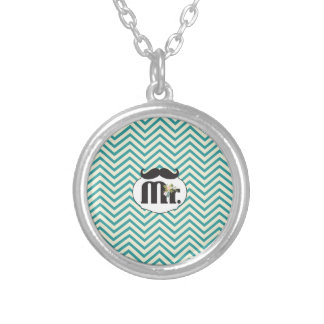 Chalkboard Mr. Yellow and Green Zigzag Chevron Round Pendant Necklace
