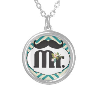 Chalkboard Mr. Yellow and Green Zigzag Chevron Silver Plated Necklace