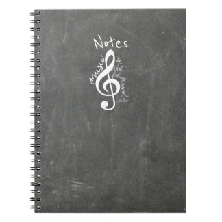 Chalkboard Music Is What Feelings Sound Like Quote Notebooks