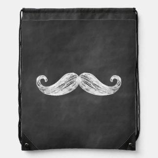 Chalkboard Mustache Drawstring Backpack