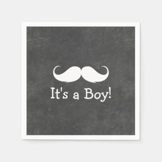 Chalkboard Mustache It's a Boy Baby Shower Disposable Serviette