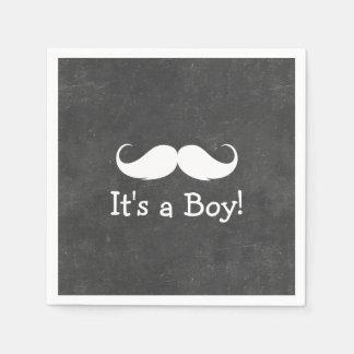 Chalkboard Mustache It's a Boy Baby Shower Paper Napkin