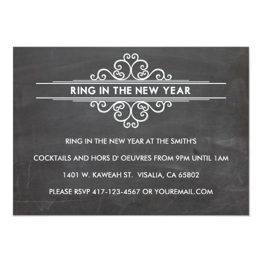 Chalkboard New Year Invintation 13 Cm X 18 Cm Invitation Card