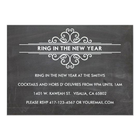 Chalkboard New Year Invintation Card