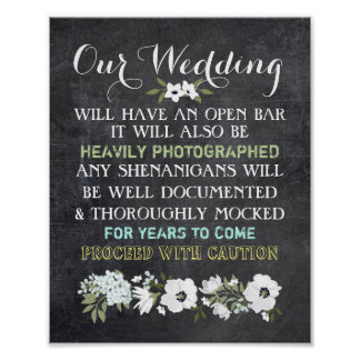 Chalkboard Open Bar Wedding Sign Floral Funny Poster