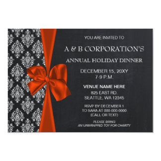 Chalkboard Orange Corporate Holiday Party Card