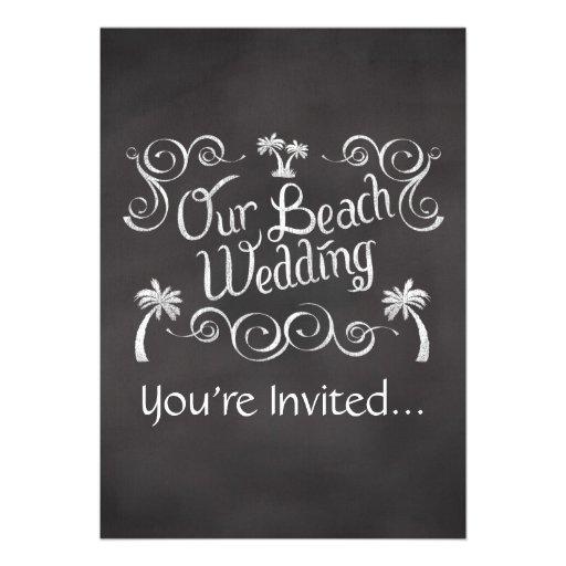 Chalkboard Our Beach Wedding Personalized Invitation
