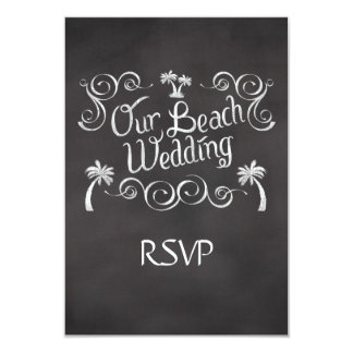 Chalkboard Our Beach Wedding Matching RSVP Reply 9 Cm X 13 Cm Invitation Card