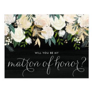 Chalkboard Pale Peonies Be My Matron of Honor Postcard