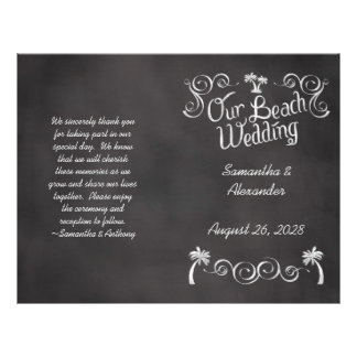 Chalkboard Palm Tree Beach Wedding Program 21.5 Cm X 28 Cm Flyer