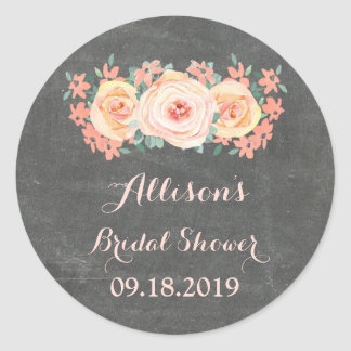 Chalkboard Peach Floral Bridal Shower Favor Tag