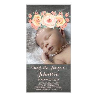 Chalkboard Peach Flowers Thank You Baby Shower Card
