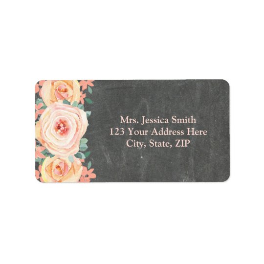 Chalkboard Peach Watercolor Floral Return Address Label