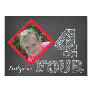 "Chalkboard Photo 4th Birthday Invitation 5"" X 7"" Invitation Card"