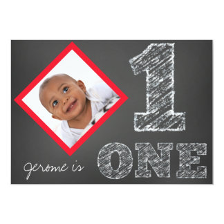 Chalkboard Photo First Birthday Invitation